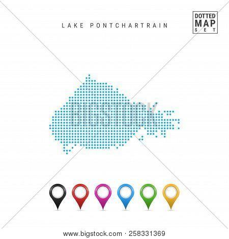 Dots Pattern Vector Map Of Lake Pontchartrain, Louisiana. Stylized Simple Silhouette Of Lake Pontcha
