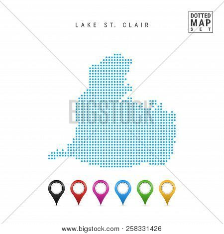 Dots Pattern Vector Map Of Lake St. Clair, Ontario-michigan. Stylized Simple Silhouette Of Lake St.