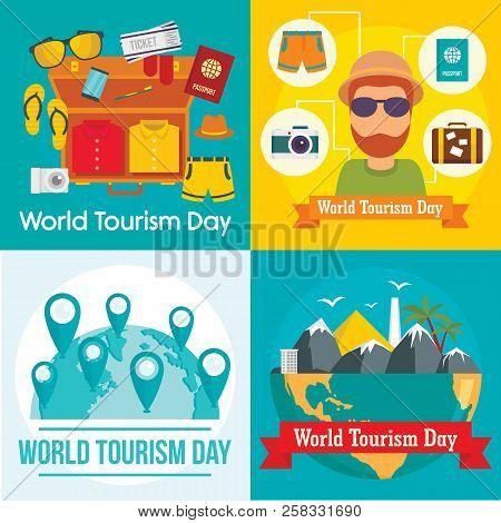 World Tourism Day Travel Baggage Banner Concept Set. Flat Illustration Of 4 World Tourism Day Travel
