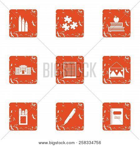 Study Undertaking Icons Set. Grunge Set Of 9 Study Undertaking Icons For Web Isolated On White Backg