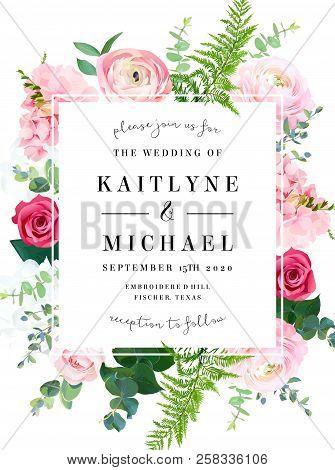 Square Floral Vector Design Frame. Pink Ranunculus, Red Rose, White Hydrangea Flowers, Eucalyptus, F