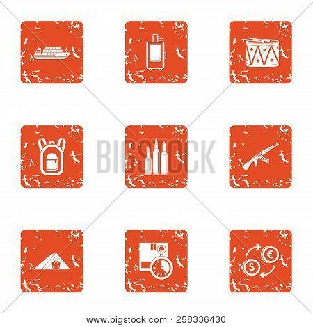 Business Undertaking Icons Set. Grunge Set Of 9 Business Undertaking Icons For Web Isolated On White