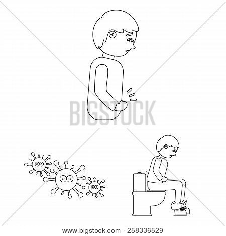 The Sick Man Outline Icons In Set Collection For Design.illness And Treatment Vector Symbol Stock We