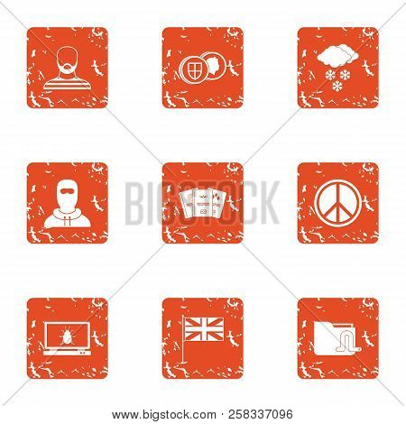 Peaceful People Icons Set. Grunge Set Of 9 Peaceful People Icons For Web Isolated On White Backgroun