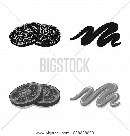 Vector Design Of Burger And Sandwich Icon. Set Of Burger And Slice Stock Vector Illustration.