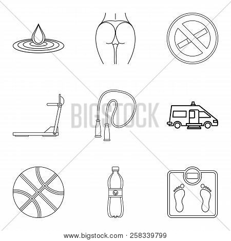 Wife Health Icons Set. Outline Set Of 9 Wife Health Icons For Web Isolated On White Background