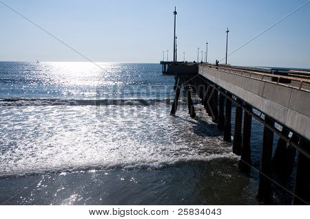 Waves At The Venice Beach Pier, Ca