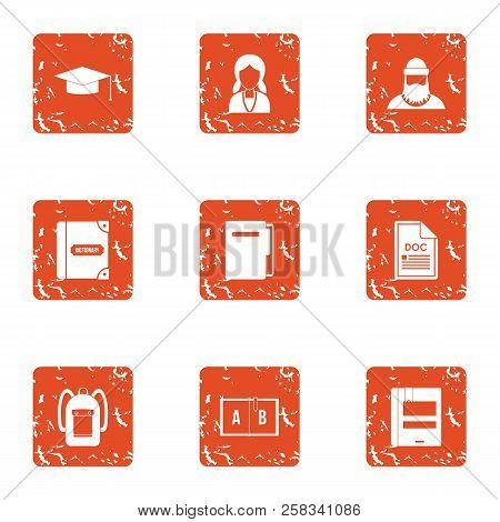School Personnel Icons Set. Grunge Set Of 9 School Personnel Icons For Web Isolated On White Backgro