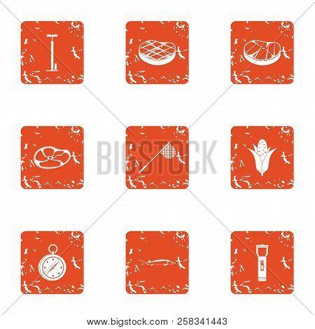 Alimentation Icons Set. Grunge Set Of 9 Alimentation Icons For Web Isolated On White Background