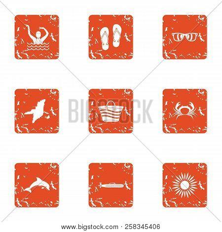 Vagabond Icons Set. Grunge Set Of 9 Vagabond Icons For Web Isolated On White Background