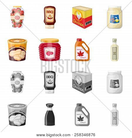 Vector Illustration Of Can And Food Icon. Set Of Can And Package Vector Icon For Stock.