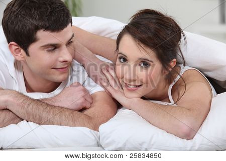 Couple at bedtime