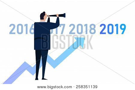 Business Graph With Arrow Up And 2019 Symbol, Success Concept And Growth Idea Illustration. Manager