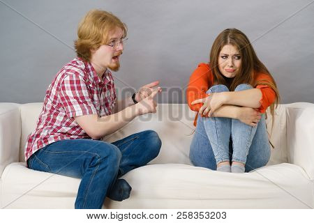 Man And Woman Being Mad At Each Other After Fight. Female Is Sad. Friendship, Couple Breakup Difficu