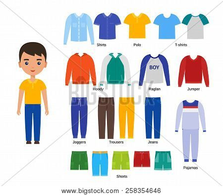 Boy With Clothes. Vector. Baby Clothing. Cartoon Character Paper Doll With Casual Cloths Set Isolate
