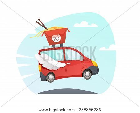 Wok Delivery Truck. Asian Noodles. Chinese Food Take Away Vector  Sushi Delivery Fast Car With Wings