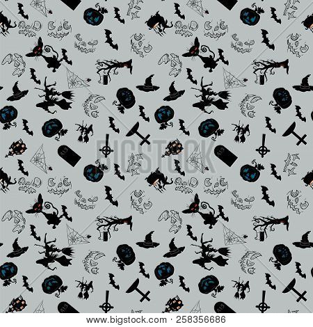 Vector Seamless Pattern, Holiday Symbols Characters And Holiday Symbols In October Halloween