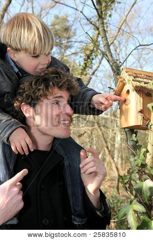 Father and son looking at a bird box