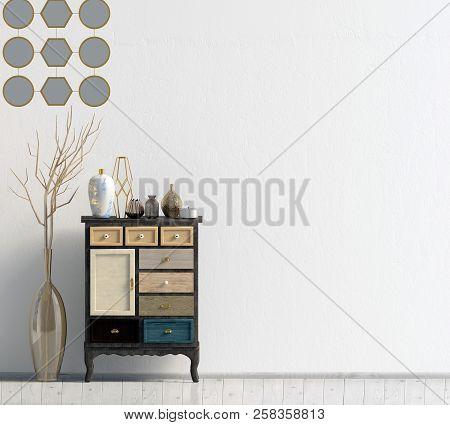Modern interior with dresser. Wall mock up. 3d illustration. poster