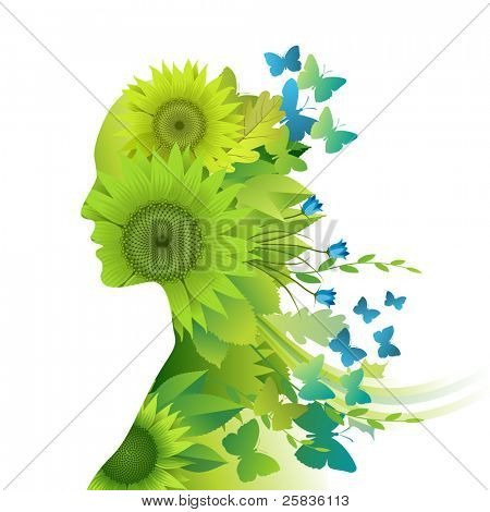 Mother Nature, young woman composed of green leafs, flowers and butterflies depicting spring and summer