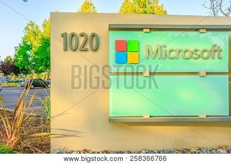 Sunnyvale, California, Usa - August 13, 2018: Closeup At Microsoft Corporation Sign At 1020 Enterpri