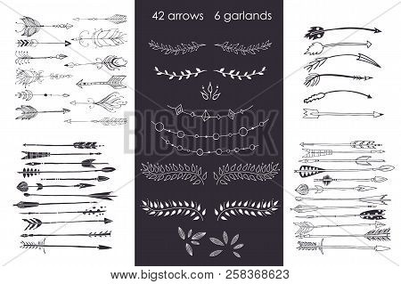Set With Arrows, Hand Drawn Ethnic Collection With Arrows, Garlands, Laurel For Design, Rustic Decor