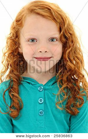 Close Up Girl Child With Orange Curly Hair And Blue Eyes