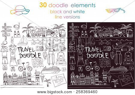 Hand Drawn Travel Objects For Design, Black And White Travel Doodles And Lettering, Travel Hand Draw