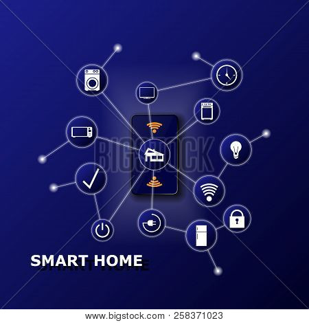 Smart Home Controlled Smartphone. Internet Of Things Technology Of Home Automation System. Small Hou