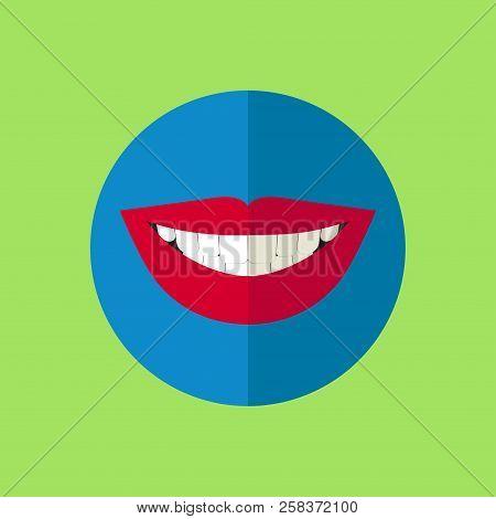 Teeth Whitening, Comparison, Healthy White Teeth, Beautiful Female Smile, Vector Icon