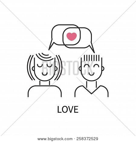 Icon Love, Logo Dating Site, Conversation Lovers, Online Communication, Vector Icon Dating Site, Bub