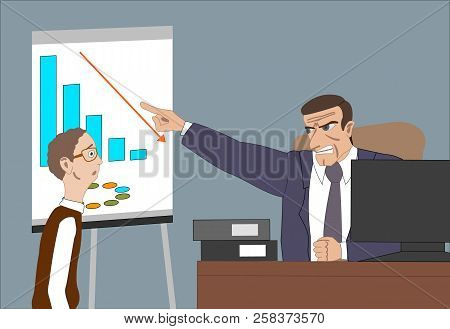 Angry Boss With Employee. Director Worries About Poor Results And And Point At Diagram At Flipchart