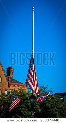 This Is A Flag Pole With Its Us Flag At Half Staff In Gettysburg, Pa.