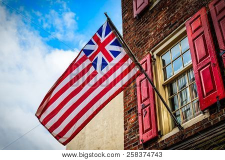 The Grand Union Flag, Also Called The Continental Colors, Congress Flag, Cambridge Flag, Or First Na