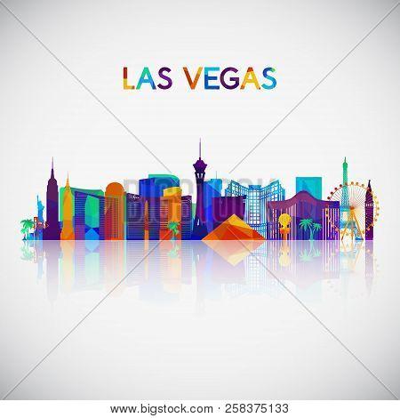 Las Vegas Skyline Silhouette In Colorful Geometric Style. Symbol For Your Design. Vector Illustratio