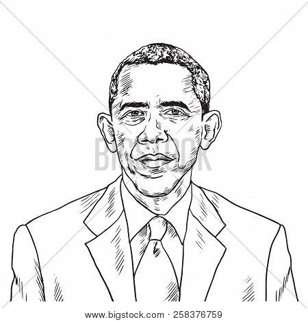 Drawing Of Barack Obama. Vector Caricature Illustration Drawing. September 15, 2018