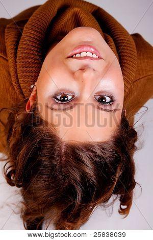 Happy Beautiful Woman, Looking Up,  Studio Shot