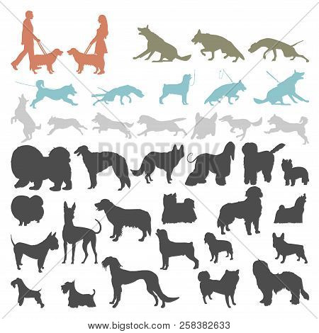 Dog Silhouettes On White Background. Set Of Dog Silhouettes Doing Different Activities. Dog Jumping,