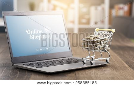 Shopping Cart Full Of Money And Laptop