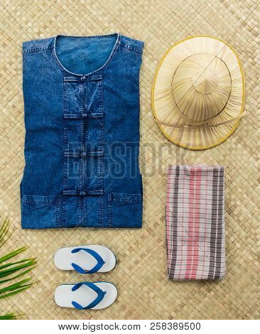 Overhead View Uniform Thai Farmer And Live In The Countryside Of Thailand Items With Uniform Of Nati