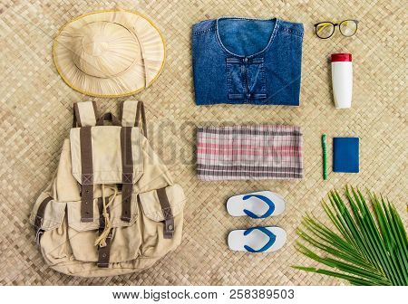Overhead View Of Travel And Live In The Countryside Of Thailand Items With Uniform Of Native Thailan
