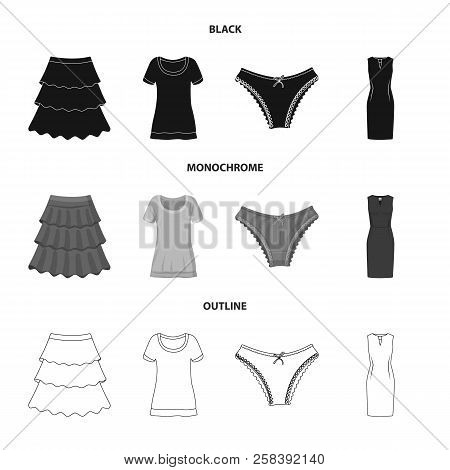 Isolated Object Of Woman And Clothing Icon. Set Of Woman And Wear Vector Icon For Stock.
