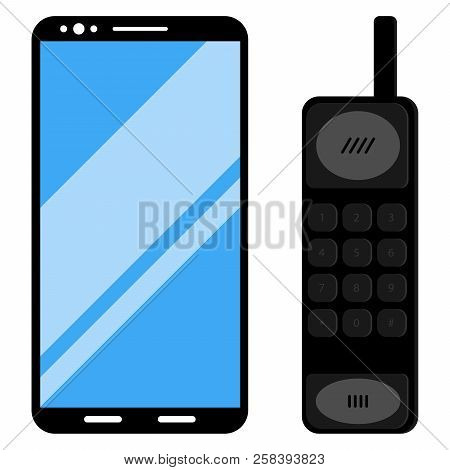 Phone Icon. Modern Smartphone And An Old Button Phone. Vector Illustration Of A Mobile Phone. Smartp
