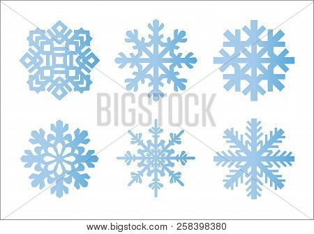 Snowflake Winter Set Of Blue Gradient Isolated Six Icon Silhouette On White Background For Christmas