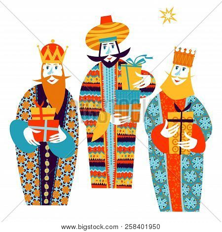 Three Biblical Kings: Caspar, Melchior And Balthazar. Three Wise Men With Gift Boxes. Vector Illustr