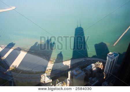John Hancock Building Shadow On Lake Michigan
