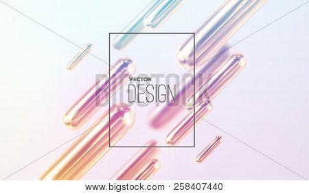 Modern Trendy Cover Design. Vector 3d Illustration Of Liquid Iridescent Metallic Capsules. Abstract