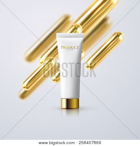 Cosmetic Cream Tube With Golden 3d Capsule Shapes. Vector Realistic Illustration Of Skincare Product
