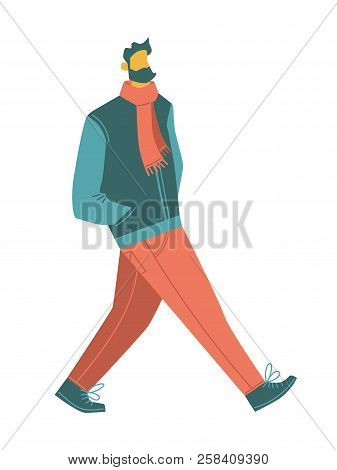 Cartoon Vector People. A Bearded Walking Man Wearing Casual Clothes: Scarf, Jacket, Jeans, Boots. Is