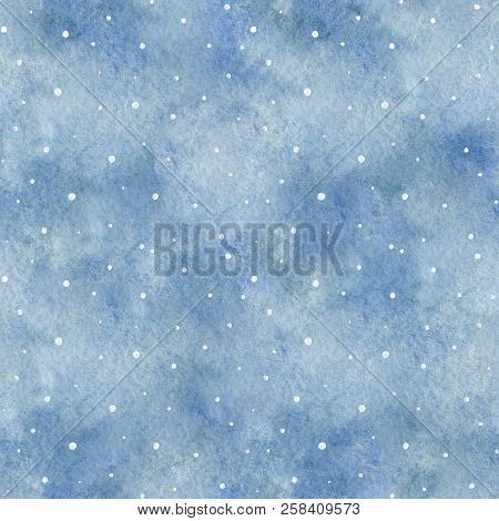 Seamless Pattern With Blue Gradient Background And Snowflakes. Watercolor Hand Drawn Illustration. S